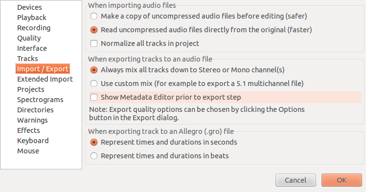 The import / export part of preference dialog